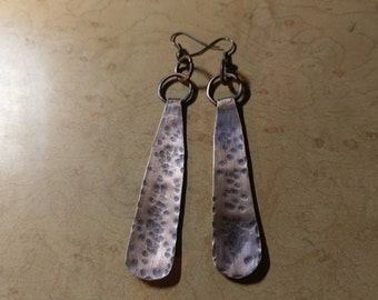 Hammered copper earrings