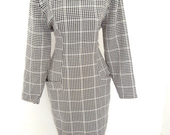Vintage Dita hourglass Wiggle Dress Black White Houndstooth  UK 10