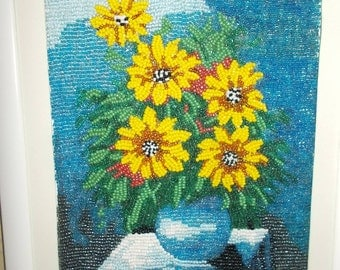 handmade seed beads flower wall art work