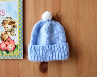 vintage blue knit baby toque or hat with pom for newborn baby | baby gift