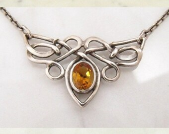 "Silver necklace with Cytrin ""Butterfly"""