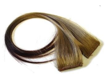 "Set of TWO 20"" Clip-In Human Hair Streaks, Caramel Ombré"