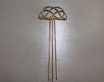 Vintage Brass Asian Hair Stick Pin