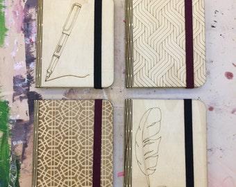 A7 Lasercut Birch Plywood Live Hinge Notebook