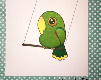 Eclectus Cartoon Parrot