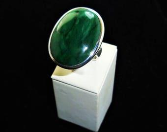 Natural  Jade  Silver  Ring