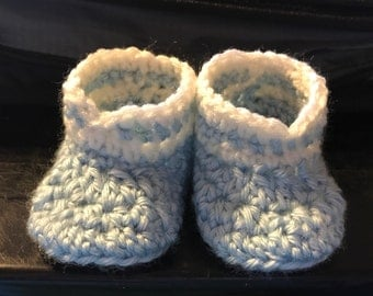 Blue and white baby booties, infant size