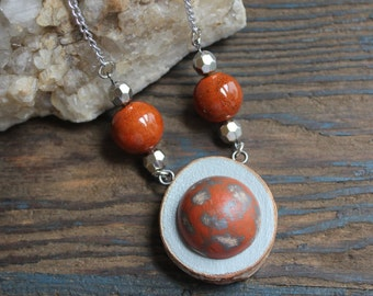 Hand Painted Jewelry, Wood Necklace, Orange Necklace, Statement Necklace, Recycled Jewelry, Unique Jewelry, Handmade Jewelry, Gift for Her