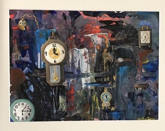 The Evolution of the Clock original acrylic on paper