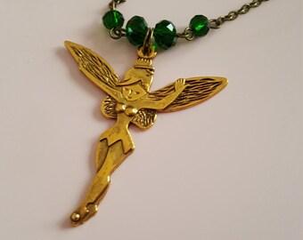 Beautiful antique bronze fairy necklace
