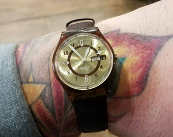 Swatch Watch - A Perfect Gift for Him or Gift for Her! - Vintage Swatch - Leather Band