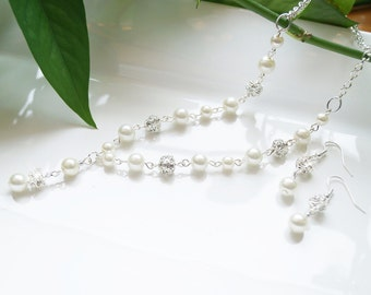 Pearl & Pave Crystal/Rhinestone Bridal, Bridesmaid, or Flower Girl Wedding/Prom Necklace and Earring Set