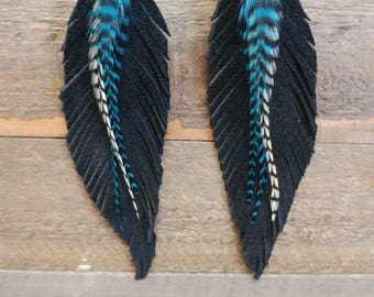 Turquoise feathered black leather feathers