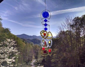Glass Wind Chime.  Suncatcher, Patio decor, Handmade windchime, Garden decor, Great gift 21