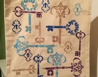 Key print canvas tote bag