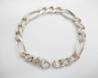 """Figaro Bracelet, Sterling Figaro, Men's Bracelet, Silver Bracelet, Vintage Bracelet, Sterling Silver Heavy Figaro Men's Bracelet 8.25"""" #1524"""