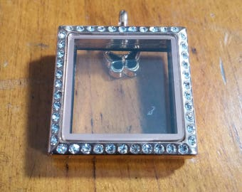 Rose Gold Square Stainless Steel Memory / Floating Locket with Rhinestones 1-1/8 x 1-1/8
