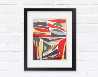 """Original Mid-century Modern Collage, COMPOSITION #18, Collage on Paper, 8""""x10"""""""