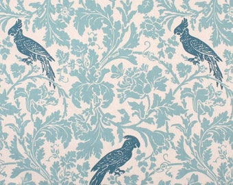 Village Blue Natural Fabric- Sea Blue and Birds, Curtains, accent pillows