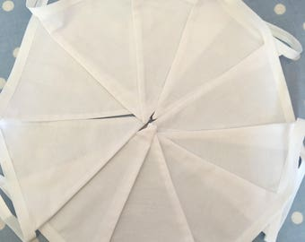 White cotton fabric bunting, banner, pennant, flag, white cotton, wedding,event, party flag, garden party, celebrations