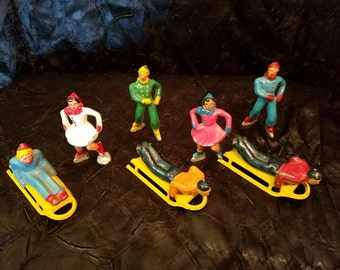 Barclay Vintage Winter lead figures sleders & ice skaters
