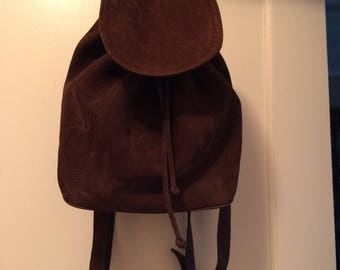 Vintage Brown Suede Coach Backpack # E4E 4938