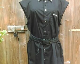 Redesigned, plus-sized,unique, rhinestone black shirt
