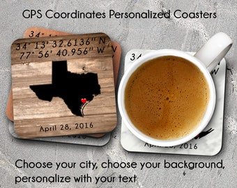 GPS Coordinates, Personalized Gifts, Custom Coasters, Personalized Coasters, GPS Coordinates Gifts, Coordinates Gps, Drink Coasters, Gifts