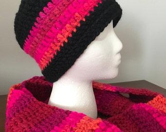 Adult Size-Beanie & Infinity Scarf-Black w/Bright Pink/Orange Multi-Colour