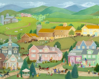 "Folk Art Print ""Village and Country Life"""