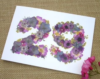 No 29, Blank Card, Wife 29th Anniversary, Mum 29th, Husband 29th Anniversary, Daughter 29th Birthday, Friend, English Pressed Flower PRINT
