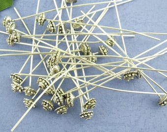 30 pins, metal pins, vintage style, antique-style, silver, decorative pins, 52 mm, 00490
