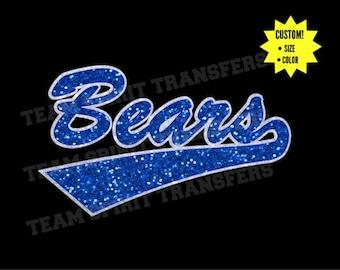Bears Swoosh Glitter Iron-On Transfer! - Custom Bling Vinyl Transfer, Applique - DIY Sparkle Shirt! - Team School Spirit Wear!