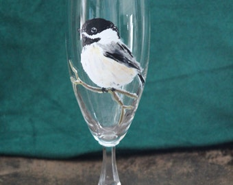 Wine Glass with Hand Painted Chickadee, Glass is 7.5 in tall and holds 10 oz