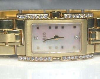 Fred Paris F362 18K Yellow Gold 0.64 CTW Diamond Pink Mother Of Pearl Dial Watch