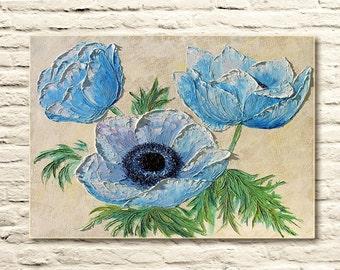 Tenderness of Anemones - Original Oil Painting on canvas palette knife summer flowers, flower modern decor, home decor