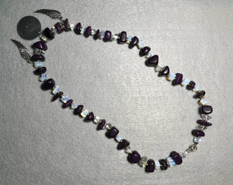 Deep Violet and Gold Necklace with Wings