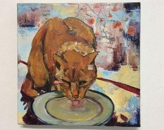 The stray  - Cat, acrylic painting