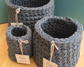 Handmade T-shirt Yarn Crochet Tub - set of 3, t-shirt yarn crochet baskets, storage tub, tshirt yarn tub, tshirt yarn basket, storage basket