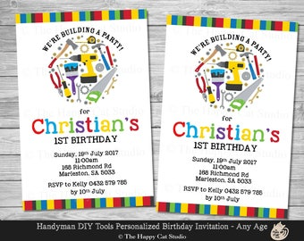 Handyman DIY Tools Invitation, Personalized, Printable, 1st Birthday Party, Invites, Digital Print Download File, Builder, Construction, Boy