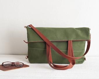 Olive Green Canvas Messenger Bag, Canvas Tote Bag, Convertible Backpack, Canvas Backpack, Convertible Bag, Diaper Backpakck, Shoulder Bag