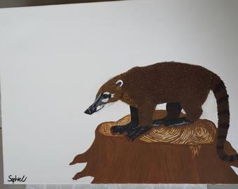 Coati Coatimundi Acrylic & Watercolour Painting on Canvas