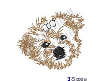 Morkie Face Outline - Machine Embroidery Design