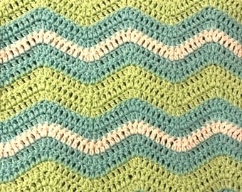 Crocheted Ripple Baby Blanket -  Blue, Green and White