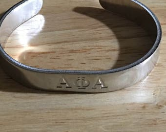 Greek personalized hand stamped cuff bracelet