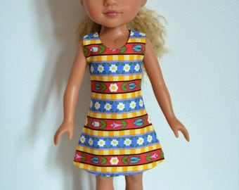 "Handmade Doll Clothes Dress fits 14"" Hearts for Hearts H4H G2G Dolls Handcraft Q3"