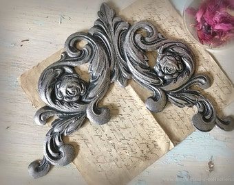 Real decorative three-dimensional Dresden shabby grey cardboard element vintage brocante decoration