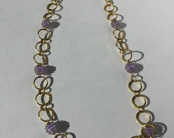 Lilac Spirals & Gold Loops Necklace Set