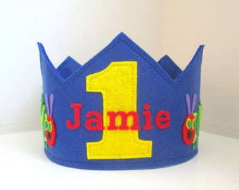 Hungry Caterpillar Crown, Birthday Crown, Boy Crown, First Birthday, Personalized, Velcro Closure, Photo Prop, Smash Cake