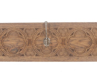 Handmade Solid English Oak Gothic Coat Rack 900x200